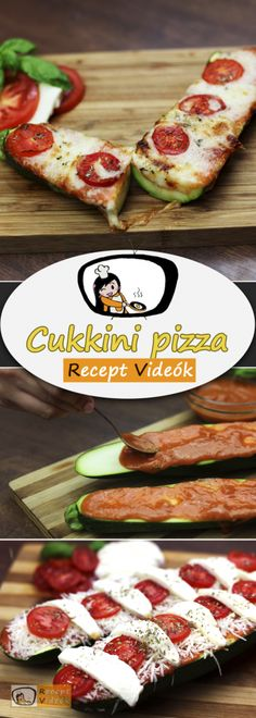 Zucchini pizza recipe with video. Detailed steps on how to prepare this easy and simple Zucchini pizza! Zucchini Pizza Recipes, Zucchini Pizzas, Recipe R, Caprese Salad, Bruschetta, Mozzarella, Food Videos, Tacos, Simple