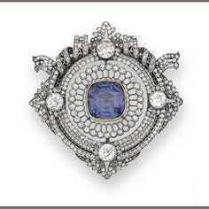 A belle époque colour change spinel and diamond brooch, circa 1900