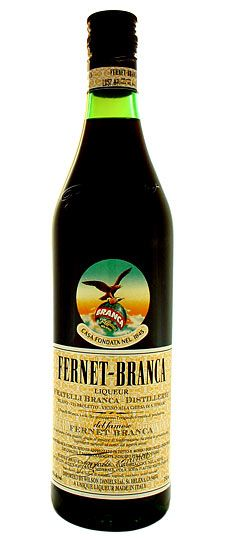 Fernet Branca  is an Italian amaro developed in 1845. The family's secret recipe still has never been disclosed, but what they can tell you is that it is a combination of 27 different herbs picked in four continents and aged for more than a year in oak casks. Perfect as a digestive, try it with your meal.