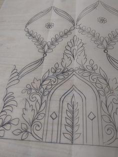 Temple design Blouse Patterns, Fabric Patterns, Embroidery Patterns, Dress Designs, Blouse Designs, Embroidery Dress, Hand Embroidery, Indian Flowers, Temple Design
