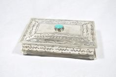 Geometric Stamped Silver Box with Turquoise - Home Décor - National Cowboy Museum