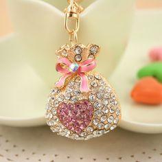 anime keychain Rhinestone Beautiful purse handbag keychain High Grade Fashion jewelry Metal Crystal KeyChains Holder FHF0077(China (Mainland))