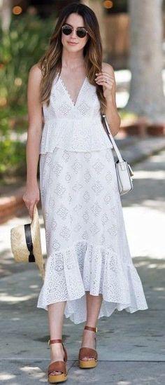 #summer #feminine #outfitideas |  White Summer Dress