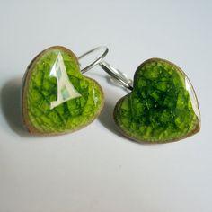 Clear Crackle Greenporcelain heart earrings by CCceramicartstudio, $12.50