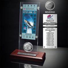 New York Giants Super Bowl XXI Ticket and Game Coin Acrylic Display