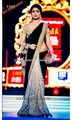 Sari Bollywood Shreya Noir Actress Kollywood Tamil Black Noir Argent Saree Velour Fashion Show Velvet