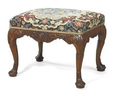 c1750 AN IRISH GEORGE II WALNUT STOOL  CIRCA 1750  Price realised USD 92,500 Georgian Furniture, Antique Furniture, Art Nouveau, Foot Stools, Furniture Inspiration, Ottomans, Sofa Set, Soft Furnishings, Benches