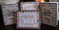 Four pack of thinking of you/you made my day by HighlandPoppyCards, $8.00