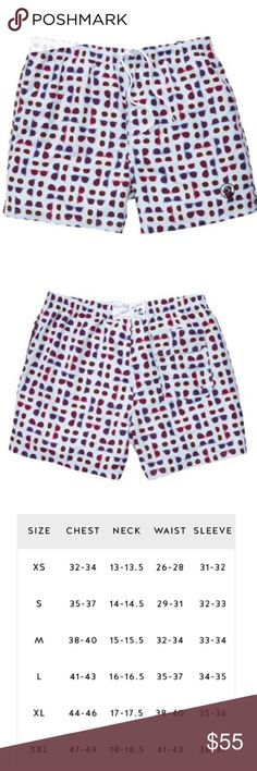 Southern Proper Swim Trunks FIRM unless bundled Men's Southern Proper swim trunks. Ordering on a need basis. These shorts are made of fast drying polyester fabric with built in mesh briefs. Elastic waistband with drawstring. Hand pockets with mesh lining. 6 inch inseam. Shorts are light blue with a multicolor sunglasses pattern. Southern Proper Swim Swim Trunks