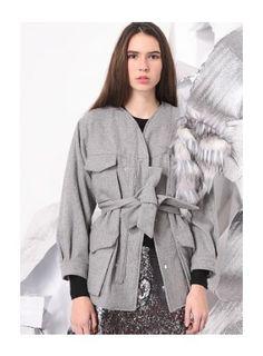 ASHMO Strap Lace Up Jacket