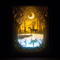 Kingneonlux Свет Тень бумаги резные Lights мечта Белая лошадь DIY ручной 3D огни креативный подарок настольная лампа спальня ночник