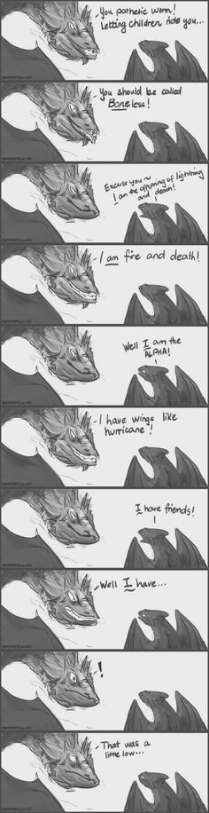 Behold, a Smaug and Toothless sass-off!
