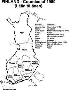 1960 Finland Counties map for help in your genealogy research.