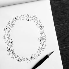 I had to go back and try the @wildfieldpaperco wreath tutorial from the #moderncalligraphysummit. It was my first time drawing with the pointed pen and I loved it! Now, I just have to figure out what to write in the middle... #mcsday4 #mcscatchupparty