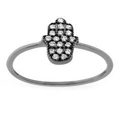 International Sterling Silver Cubic Zirconia Pave Hamsa Ring