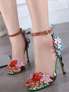 Colorful peep toe floral high slim heel sandals YS-C5693-Lovelyshoes.net