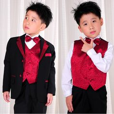 Little Baby Toddler Junior Boy Boys Black Red Dress Suit Tuxedo 8 Piece SKU-132027