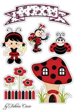 Topo joaninha Baby Ladybug, Ladybug Party, Hobbies And Crafts, Diy And Crafts, Paper Crafts, Ladybug Crafts, Baby Clip Art, Scrapbook Embellishments, Printable Stickers