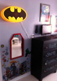 Batman Wall Light Decor : Batman, Bat Signal light, Gotham City, wall decal, boys room decor, superhero decal, wall art ...
