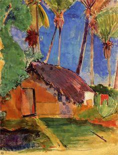 Hut under the coconut palms, watercolor on paper, 31.5 x 23.2 cm. Musée de France, Paris, France. Post-Impressionism, Paul Gauguin (1848-1903).