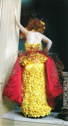 """""""Spanish Lace"""" Each of the """"tendrils"""" you see are handmade from aluminium flat wire in copper, gold, red and brown.  Each and every single swirl by hand. I loved the panel in the back of yellow cymbidium orchid petals which are also the bodice of the dress.  Very feminine and pretty!.."""