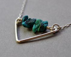 Oceanids Necklace. Short Version. Rough turquoise by Epheriell, $62.00