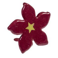 Attache Parisienne/Brads Fleur Rouge Métal