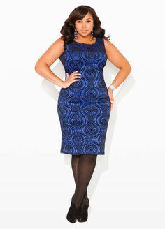 Ashley Stewart Flocked Baroque Dress