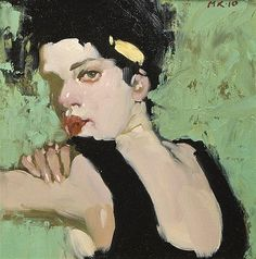 <b>Milt Kobayashi</b> <br  /> (American, b. 1950) <br  /> <i>Sweat</i>, 2010 <br  /> oil on canvas <br  /> initialed<i>MK</i> and dated (upper right) <br  /> 8 x 8 inches.