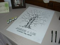 Thumb-print Tree of wedding attendees...this could be used for many occassions!