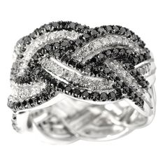 Sterling Silver 1ct TDW Black and Diamond Band Ring
