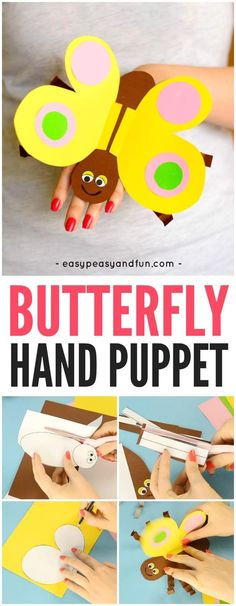 Printable Template Butterfly Paper Hand Puppet – Fun Crafts for Kids The Effective Pictures We Offer You About Spring Crafts For Kids window A quality. Spring Crafts For Kids, Paper Crafts For Kids, Diy For Kids, Puppets For Kids, Hand Puppets, Craft Activities, Preschool Crafts, Paper Bunny, Puppet Crafts