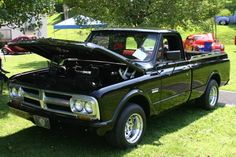 1967 GMC black pickup truck