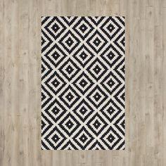 Mercury Row® Kelly Black & Cream Geometric Wool Hand-Tufted Area Rug