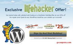 HostGator coupon code 65% OFF hosting, get HostGator hosting for just $25/year