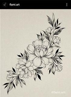 Black And White Flower Tattoo, White Flower Tattoos, Black Tattoos, Rose Drawing Tattoo, Flower Tattoo Drawings, Flower Tattoo Stencils, Floral Tattoo Design, Flower Tattoo Designs, Cute Tattoos