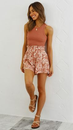 Mila Shorts - Rust Print Cute Casual Outfits, Summer Clothes, Casual Summer Outfits Shorts, Spring Outfits, Summer Shorts, Boho Fashion, Fashion Outfits, Dresses Online Australia, Boho Shorts Outfit