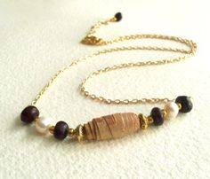 Birch Bark Necklace with Cawwa Natural Seed by NativeCraftCanada