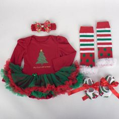 Santa Claus Red Baby Christmas Costume Lace Romper Dress Warmers Shoes Headband 4PCS Newborn Baby Girl Tutu Sets Infant Clothing