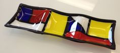 Fused glass mondrian inspired 3 section serving tray --Glassateria