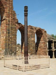 """Iron Pillar of Delhi. Originally part of a Hindu Temple Complex. Produced in 912BC, the pillar is called """"a testament to the high skill of ancient Indian blacksmiths"""" because of its high resistance to corrosion and surviving the weather since 2000 years. It was built during the reign of the Hindu King """"Chandragupta Maurya"""" who founded the Mauryan Empire which stretched to Afghanistan, Southern Iran, including India etc and unified it as what is known as """"Greater India"""""""