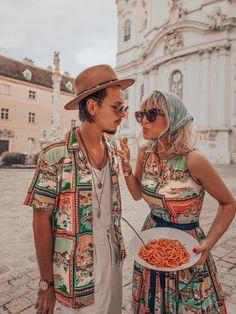 Lena Hoschek Cruise Collection Amalfi Dress & Sonny Shirt Amalfi // Pictures by Irina & Rares Peicu  #lenahoschek #lenahoschekcruisecollection #cruisecollection #italyvibes #holidaymood #vacationoutfit #summerskirt #holidayskirt #postcardprint #matchingoutfits #partnerlook
