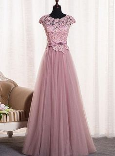Custom Made Popular Prom Dresses Lace, Pink Round Neck Tulle Lace Applique Long Prom Dress, Tulle Evening Dress Elegant Bridesmaid Dresses, Pink Prom Dresses, Lace Evening Dresses, Cheap Prom Dresses, Evening Gowns, Evening Party, Formal Dresses, Event Dresses, Dresses Dresses
