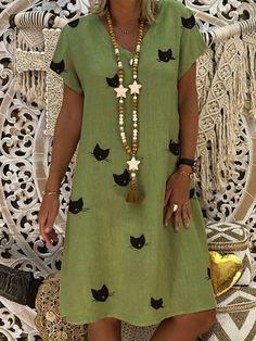 Para Vestidos Verano Summer Women Dresses Neck Vestidos Shift V De Mujeres Casual Daytime Dresses PwRqO5Z