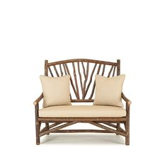 Rustic Settee (Shown in Natural Finish with Optional Loose Cushions) La Lune Collection Rustic Chair, Rustic Furniture, Outdoor Furniture, Outdoor Chairs, Outdoor Decor, Settee, Furniture Making, Cushions, Gold Leaf