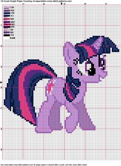 Free Twilight Sparkle Pattern for Hama Perler Beads or Cross Stitch