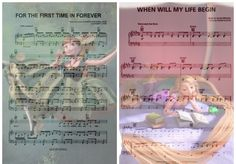 Disney Music - For the First Time in Forever from Frozen, and When Will My Life Begin from Tangled.