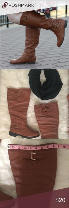 """NWOT Wide Calf Boots - Never worn! It can be so hard to find a great wide calf boot, but look no further!  Approximately 17"""" tall and 17"""" calf circumference boots in a gorgeous cognac color that pairs nicely with almost everything - so versatile!  These are BRAND NEW without tags - never, ever worn because they still weren't quite wide enough for my huge calf!  The modeled photo is one I found online.  Faux leather, gold hardware.  A winter must have! 8w Shoes Winter & Rain Boots"""