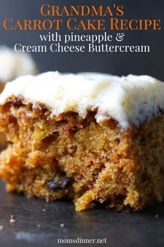 BEST Old Fashioned Carrot Cake Recipe (straight from my grandmother's recipe box), make with pineapple to keep it moist and sweet. This carrot cake is topped with the most delicious cream cheese buttercream icing. Moist Carrot Cakes, Best Carrot Cake, Köstliche Desserts, Delicious Desserts, Dessert Recipes, Boxed Cake Recipes, Cake Recipes With Oil, Most Delicious Recipe, Cream Cheese Buttercream