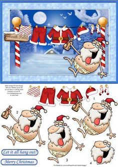 IT S CHRISTMAS SO LET IT ALL HANG OUT Topper Decoupage on Craftsuprint designed by Janet Briggs - Humorous Christmas card topper with 3d step by step decoupage. Particularly suitable for those male Christmas cards.Features a rather drunk Santa, sat below his washing line, with everything literally hanging out.2 sentiment tags. One reads Merry Christmas, the other reads, Let it all hang out! - Now available for download!